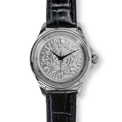 Lifestyle Mens Watch With Silver Case And Black Leather Strap