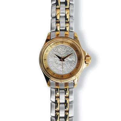 Lifestyle Ladies Watch With Gold Case And Two Toned Bracelet