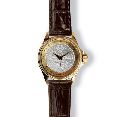 Lifestyle Ladies Watch With Gold Case And Leather Strap