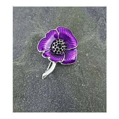 Large Purple Poppy Brooch