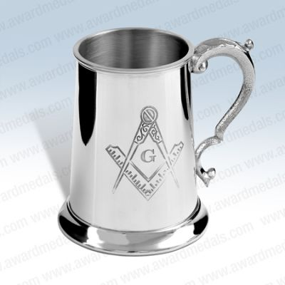 Masonic Pewter Tankard (with G)