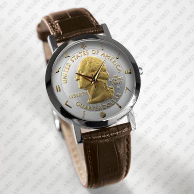 Mens Brown Leather George Washington Masonic Coinwatch