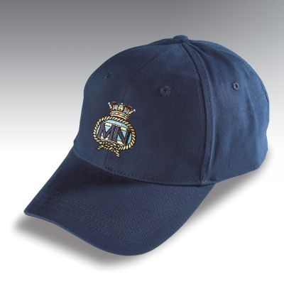 Embroidered Baseball Hat Navy Blue Merchant Navy
