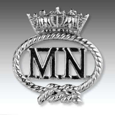 Merchant Navy Silver Finish Cut Out  Lapel Badge