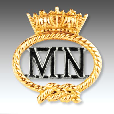 Merchant Navy Silver Gilt Finish Cut Out  Lapel Badge