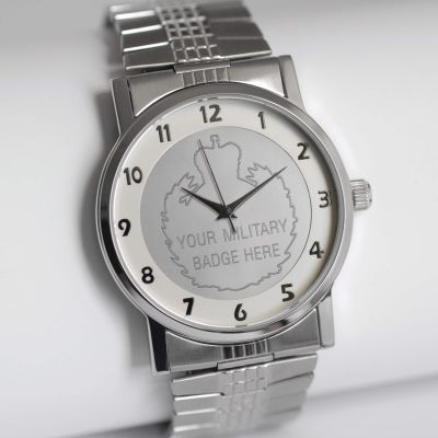 MILITARY WATCH SILVER STRETCH BAND SILVER EMBLEM