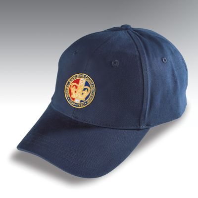 Embroidered Baseball Hat Navy Blue National Service Crown