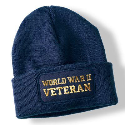 World War II Veteran Navy Blue Acrylic Beanie Hat