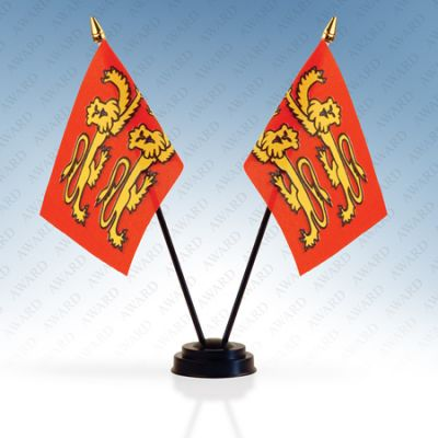Normandy Campaign Double Table Flags With Stand