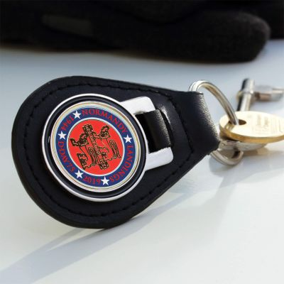 Leather Key Fob Normandy 75 Enamelled Badge