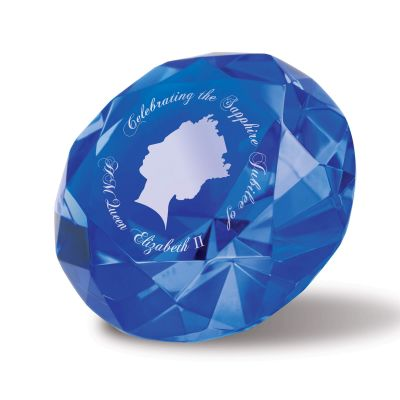Small Optical Crystal Blue Diamond Paperweight