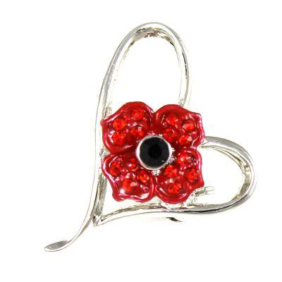 Poppy in heart brooch