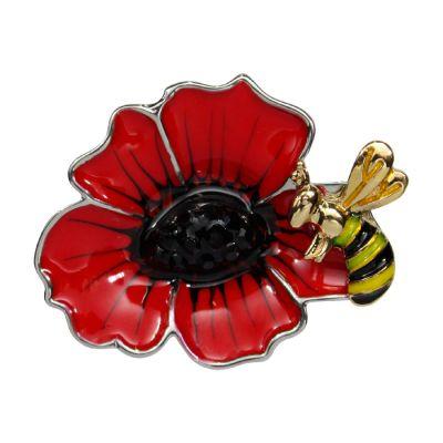 Bee on poppy brooch 35mm