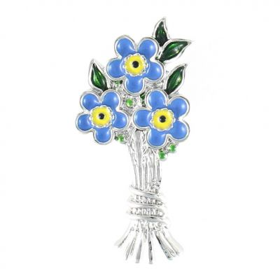 Forget Me Not bouquet Brooch