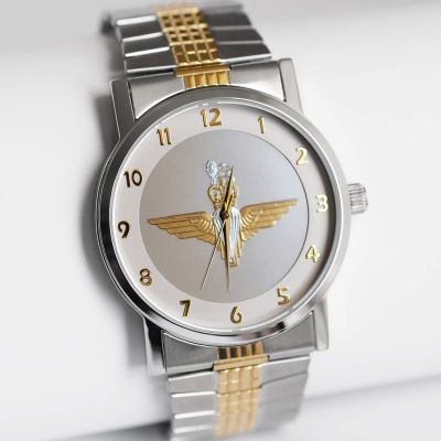 MILITARY WATCH TWO TONED STRETCH BAND TWO TONED EMBLEM