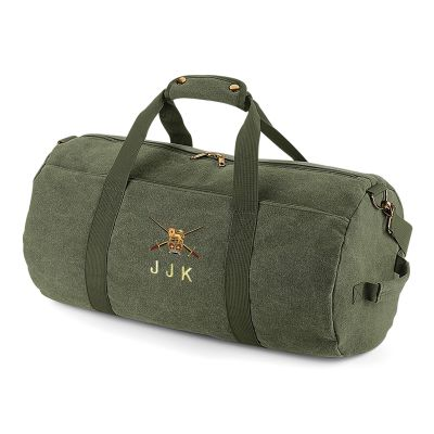 Vintage Green Canvas Barrell Bag