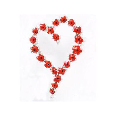Poppy Heart Wreath Brooch