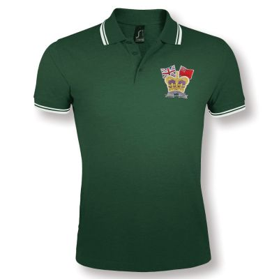 Crown & Country Double Tipped Polo Shirt Green/White