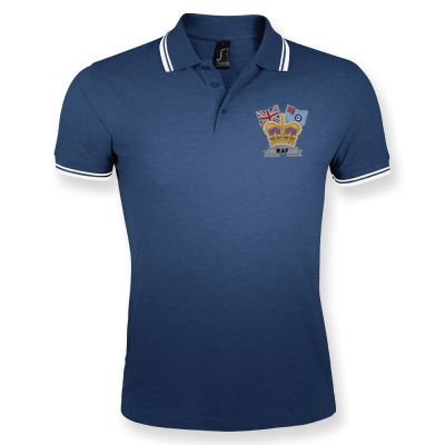 Crown & Country Double Tipped Polo Shirt Navy/White