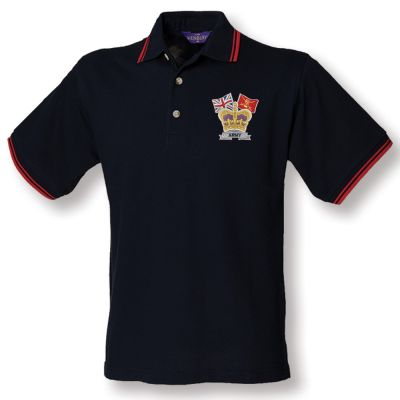Crown & Country Double Tipped Polo Shirt Navy/Red