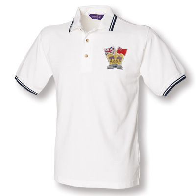 Crown & Country Double Tipped Polo Shirt White/Navy