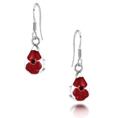 Shrieking Violet Poppy Teardrop Earrings