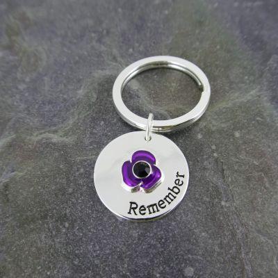 Purple Poppy Keyring