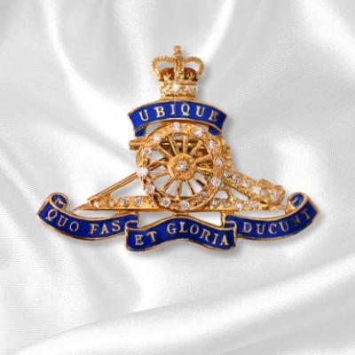 Royal Artillery Sweetheart Brooch In Gold & Diamond