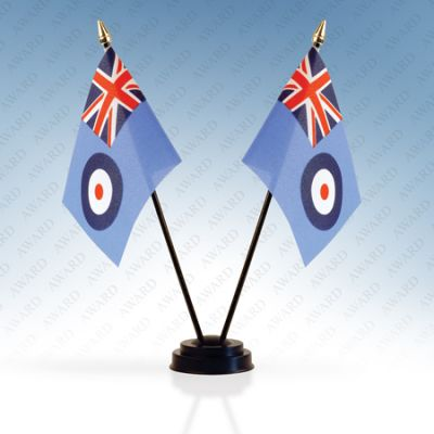 RAF Ensign Double Table Flags With Stands Pack Of 5