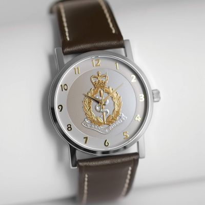 MILITARY WATCH BROWN STRAP    BI-TONED EMBLEM
