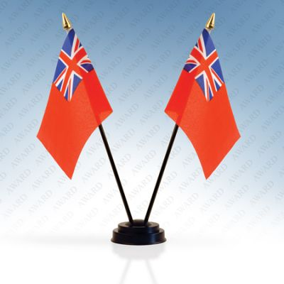 Red Ensign Double Table Flags With Stand