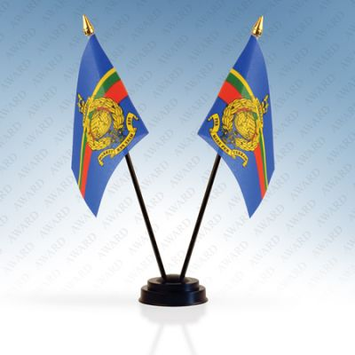 Royal Marines Double Table Flags With Stand