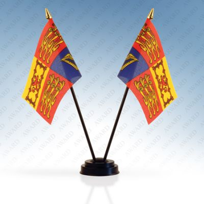Royal Standard Double Table Flags With Stand