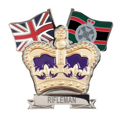 Royal Green Jackets Crown & Country Lapel Badge