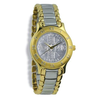 Summit Coinwatch, Gents, Gold Case, Bi Toned Bracelet, Silver Coin