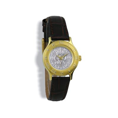 Summit Coinwatch, Ladies, Gold Case, Brown Leather Strap, Silver Coin