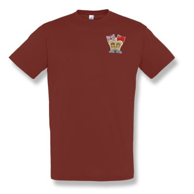 Crown & Country Embroidered Burgundy T-Shirt