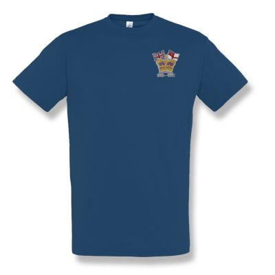 Crown & Country Embroidered navy Blue T-Shirt