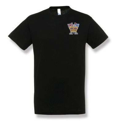 Crown & Country Embroidered Black T-Shirt