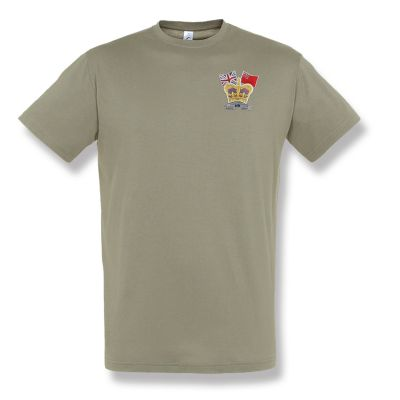 Crown & Country Embroidered Khaki T-Shirt