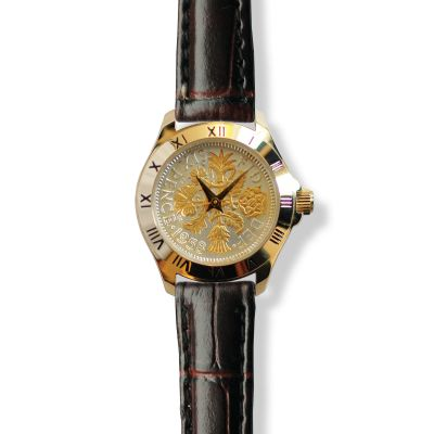 Tanner Watch With Two-tone Coin & Brown Leather Strap