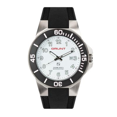 GBHR The Tough Watch, White Dial, Stainless Case, Black Bezel, Silicon Strap