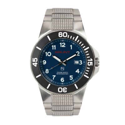 GBLS The Tough Watch, Blue Dial, Stainless Case, Black Bezel, Stainless Bracelet