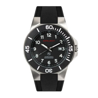 GBSR The Tough Watch, Black Dial, Stainless Case, Black Bezel, Silicon Strap