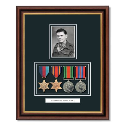 Mahogany & Gilt WWII Frame With Medals & Photograph