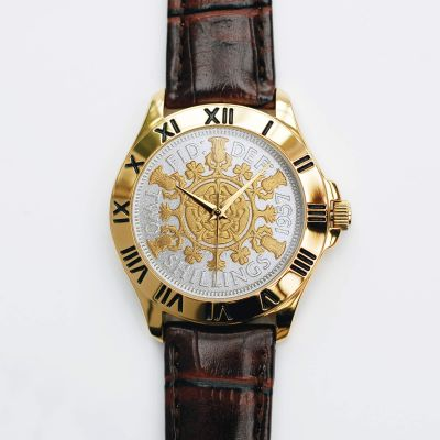 Two-Bob Watch With Two-Toned Coin & Brown Leather Strap
