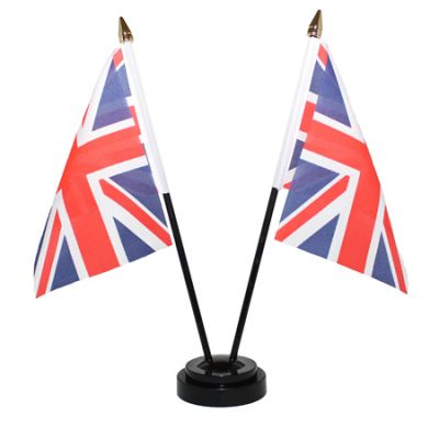 Union Jack Double Table Flags With Stand