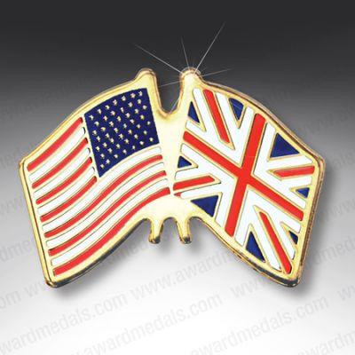 USA/UK Flags Lapel Badge