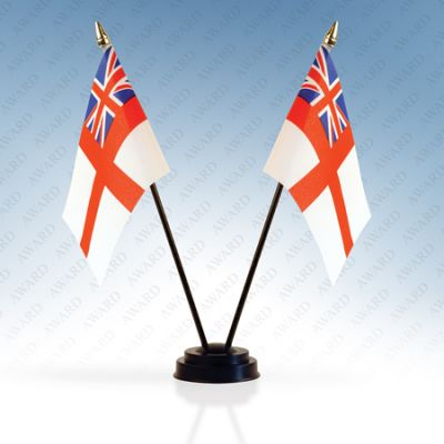 White Ensign Double Table Flags With Stands Pack Of 5
