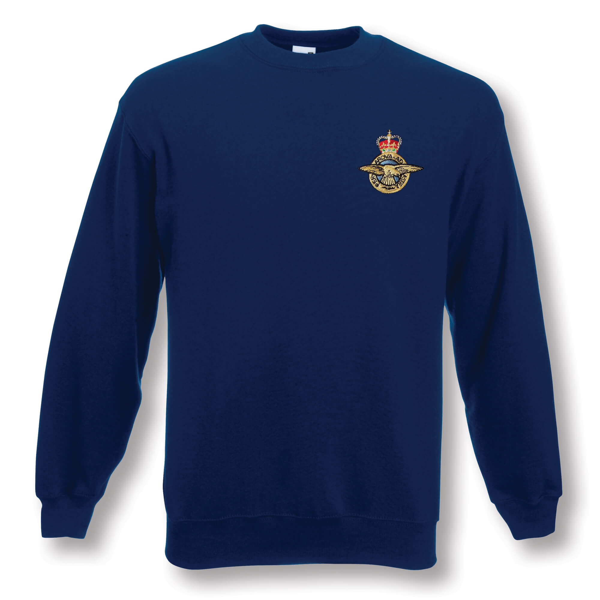 1341cc40b97 A smart navy sweatshirt in a soft easy care 80% cotton 20% polyester mix  with ribbed collar